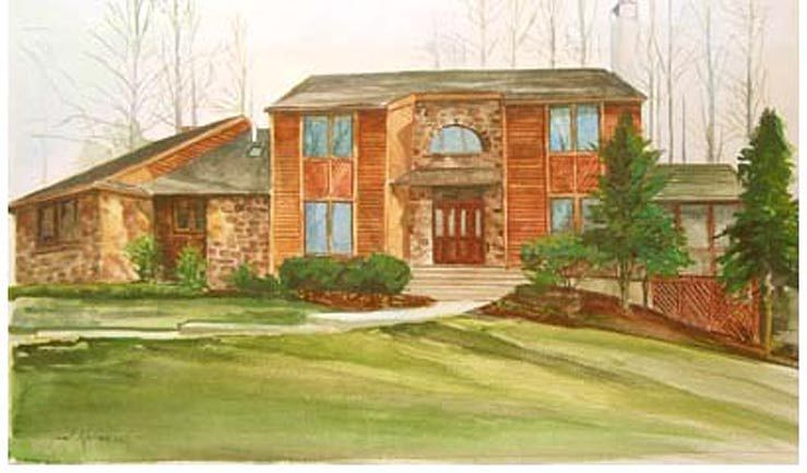 Watercolor Pennsylvania Country House by Joel Abramson