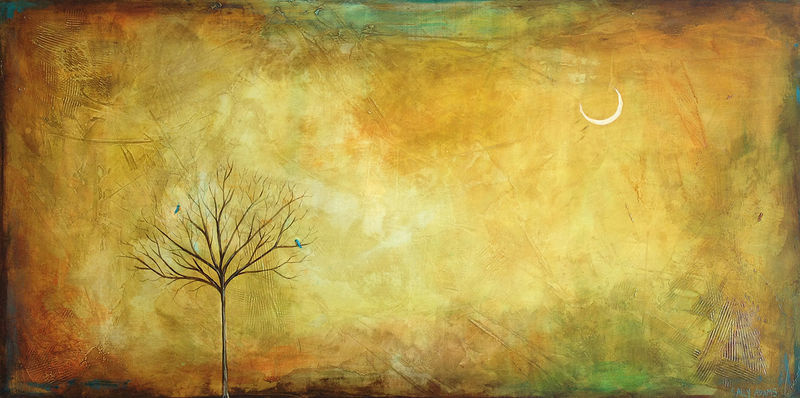 Acrylic painting Bluebirds by Sally Adams