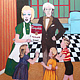 Acrylic painting Marilyn, Andy and the Kids by Rick Gillis