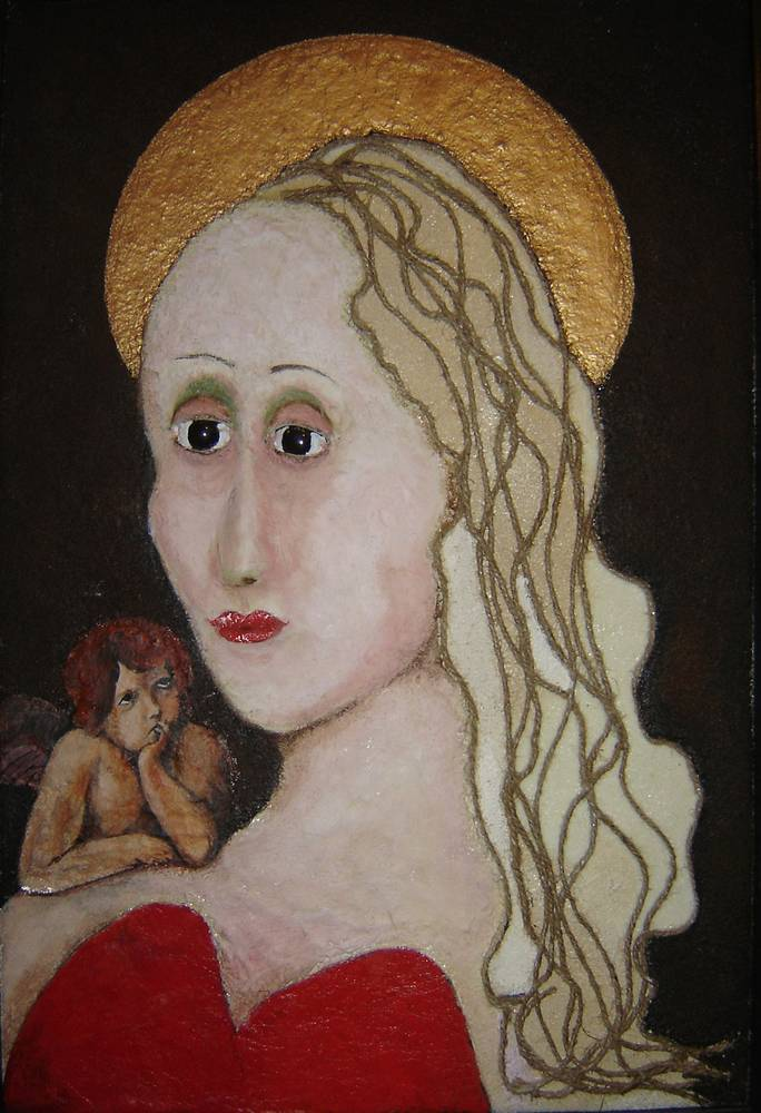 Acrylic painting The Madonna In Red Bustiere by Rick Gillis