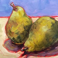 Oil painting Pair of pears -SOLD by Sarah Trundle