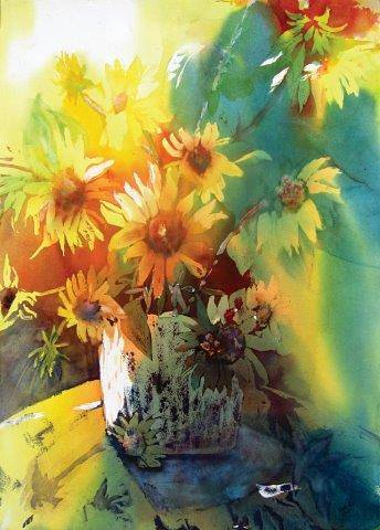 Watercolor Sunflower by Yvonne Foster