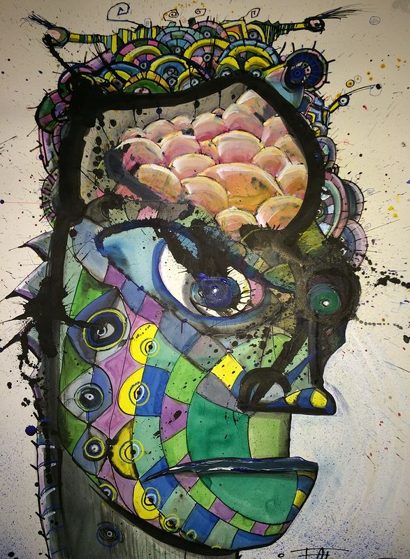 Mixed-media artwork Open Brain by Joey Feldman