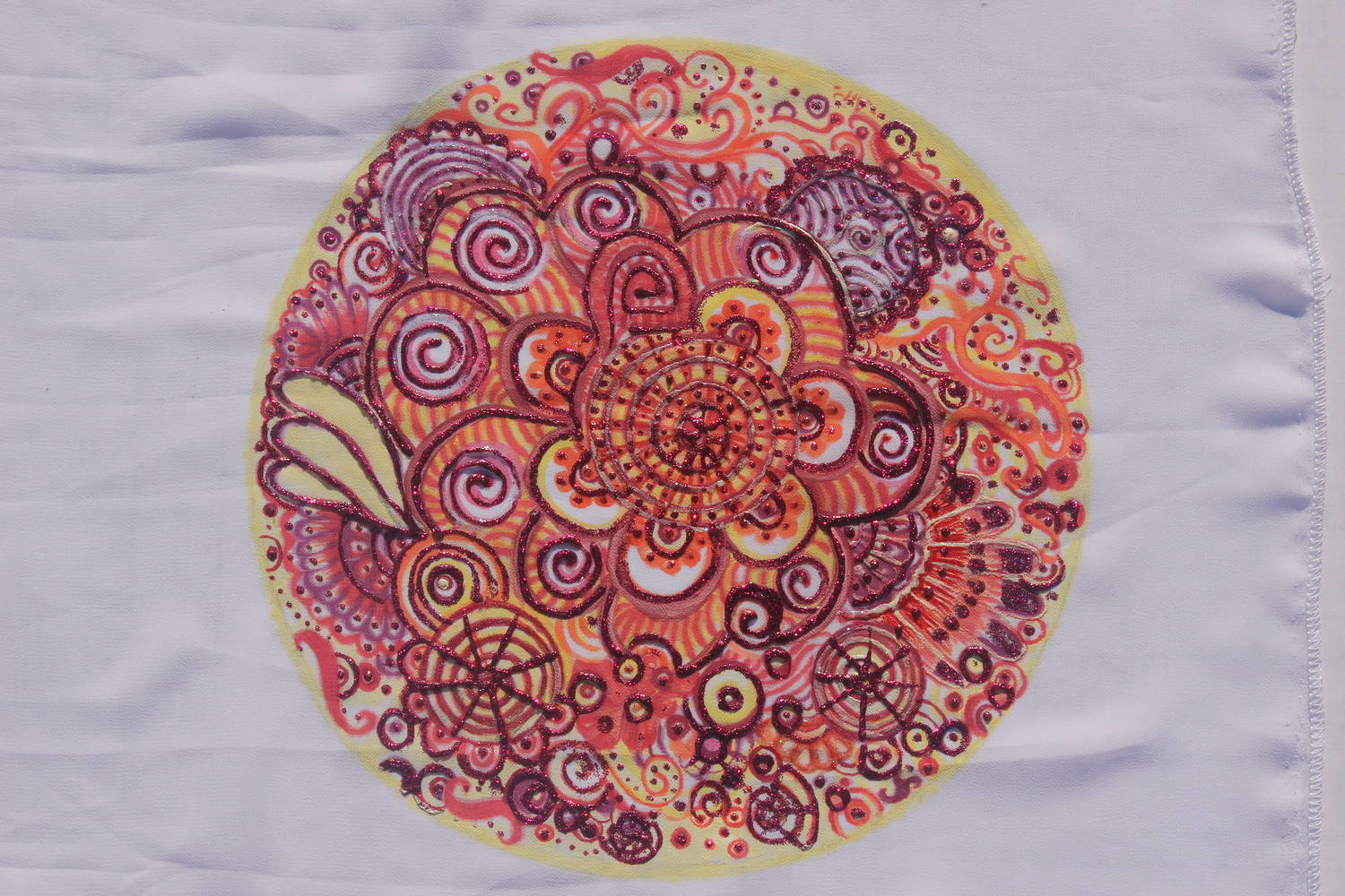 "Print Art Poster ""Red-Mandala"" on Chiffon artwork by Gia by Chía Ortegón"
