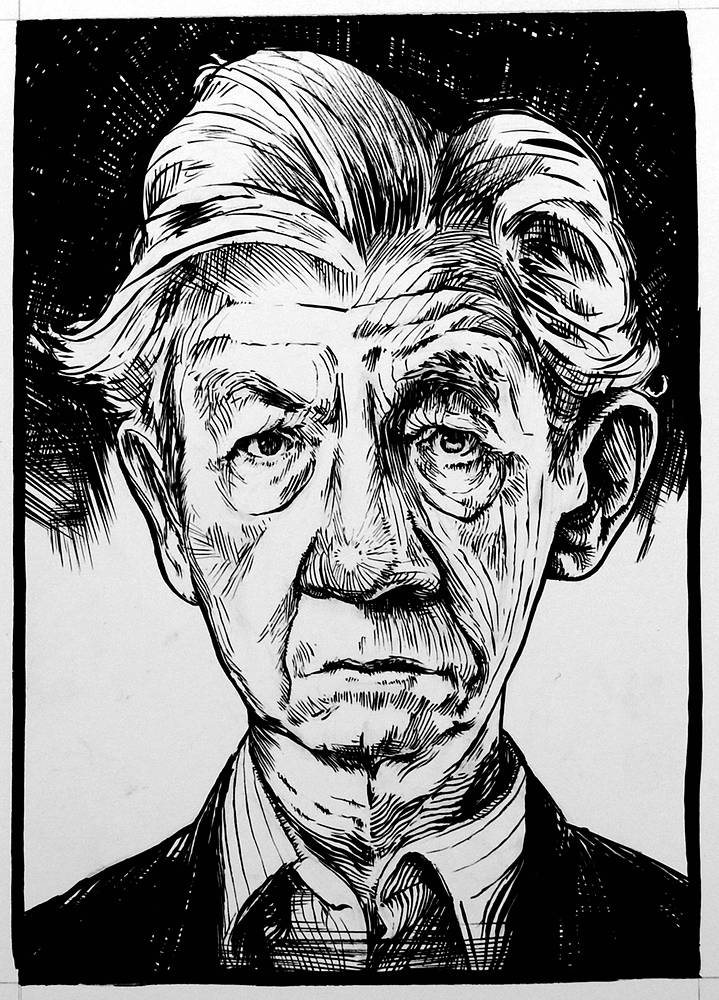 Drawing Sir Ian McKellen by Hendrik Gericke