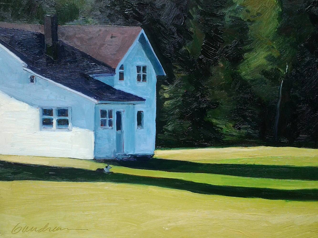 Dog Days- Morning in Keene Valley  12x16 oil by Michael  Gaudreau
