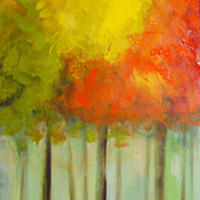 Acrylic painting Fall Color Triptych by Sally Adams