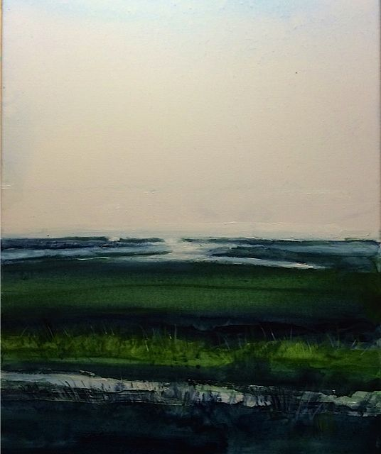 Acrylic painting Folly Island Salt Marsh by Steve Latimer