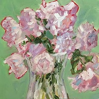 Oil painting Peonies -SOLD by Sarah Trundle