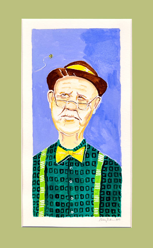 Watercolor Old Man with Bee by Ashley F Nitkin