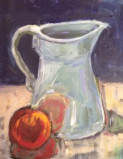 Oil painting Green Pitcher by Sarah Trundle