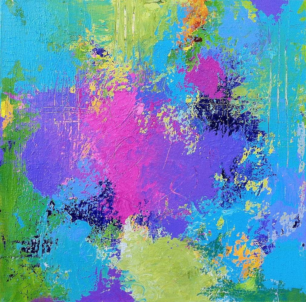 Acrylic painting Happy, 12 x 12 by Allyson Malek