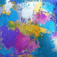 Acrylic painting Splash, II, 10x10 by Allyson Malek