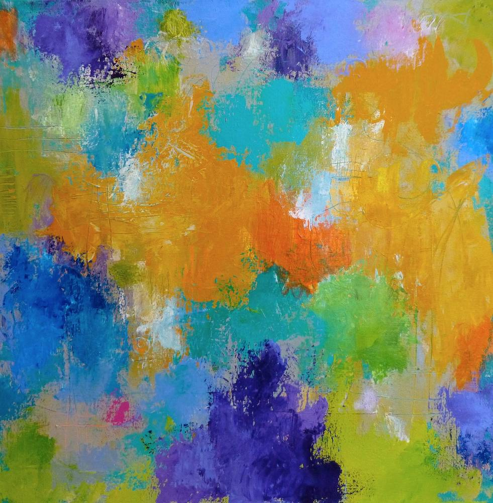 Acrylic painting Celebrate, II, 24x24 by Allyson Malek