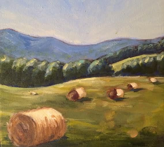 Oil painting Hay Bales- SOLD by Sarah Trundle