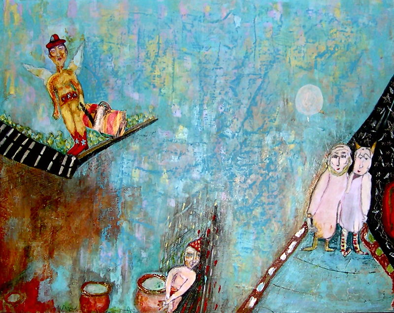 Mixed-media artwork On Holiday by Deborah Angyo Gorman