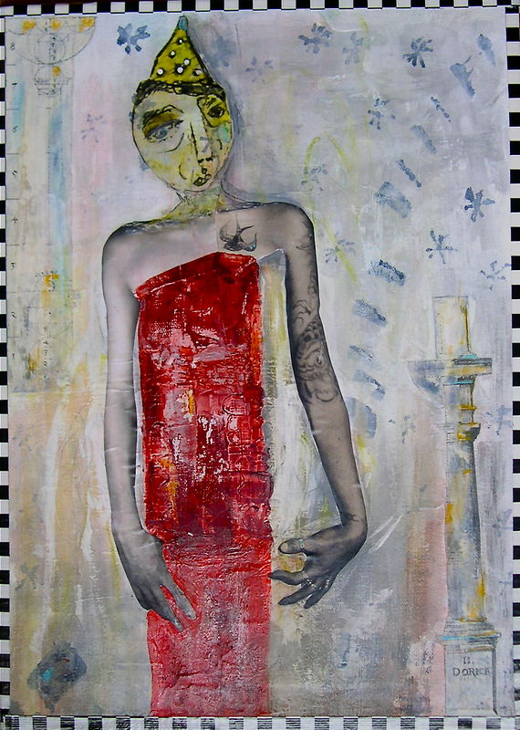 Mixed-media artwork Figure by Deborah J Gorman