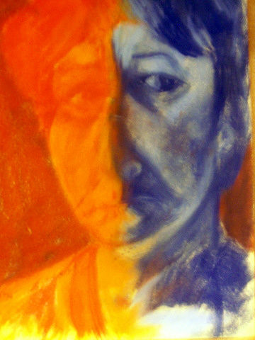 Drawing Self-Portrait in Orange and Blue by Lynne Stewart
