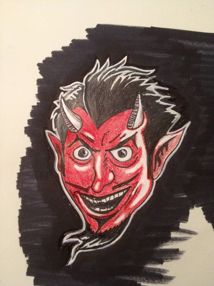 Devil head sketch by Yvonne Shaffer