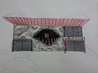 Devil's Den Facade sketch by Yvonne Shaffer