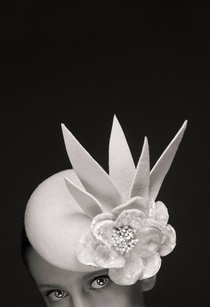 Photography Ivory felt and velvet cocktail hat by Fiona Menzies