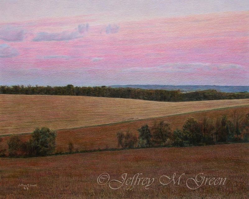 "© Jeffrey M Green. ""Twilight Fields"", 16"" x 20"", colored pencils. by Jeffrey Green"