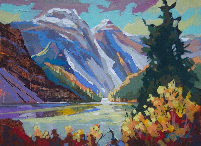 Moraine Lake Morning  Acrylic 12x16 2014 by Brian  Buckrell