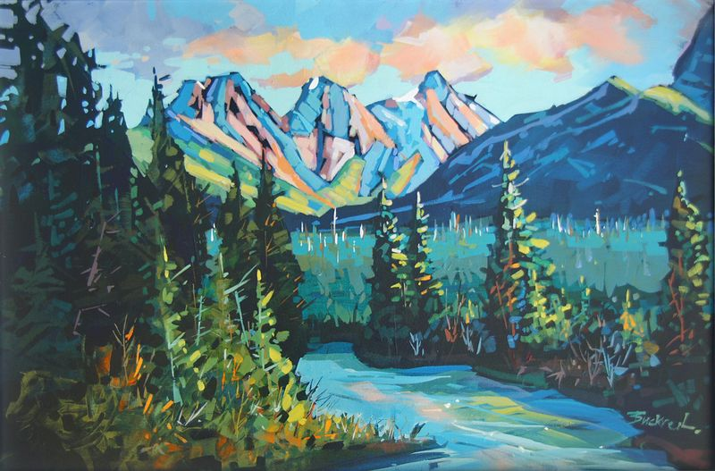 Summer Greens Canmore   Acrylic 20x30 2014 by Brian  Buckrell