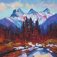 Three in Reflection Canmore   Acrylic 12x16 2014 by Brian  Buckrell