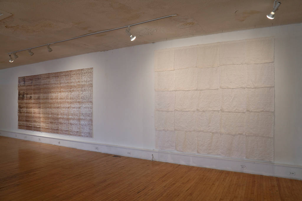 Acrylic painting Recollections and Breeze – Installation view by Maria Z Madacky