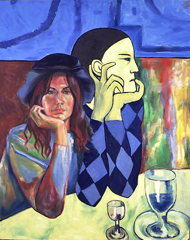 Oil painting Self Portrait in Four Cats Cafe (2002) by Maria Z Madacky