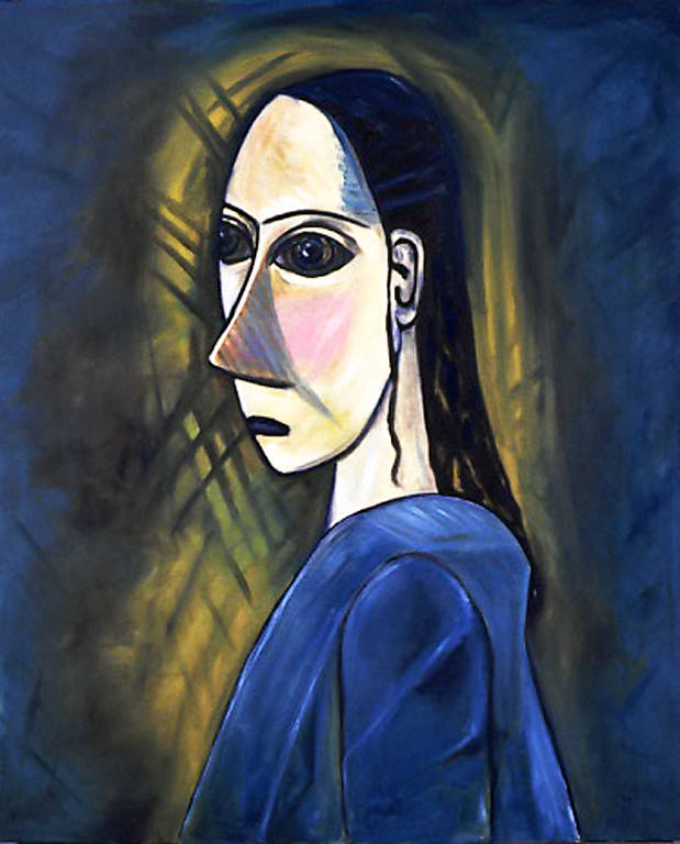 Oil painting Self Portrait as Demoiselle (2002) by Maria Z Madacky