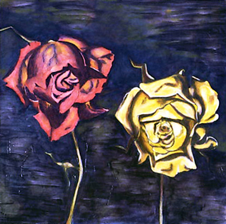Oil painting Portrait of Two Roses (2004) by Maria Z Madacky