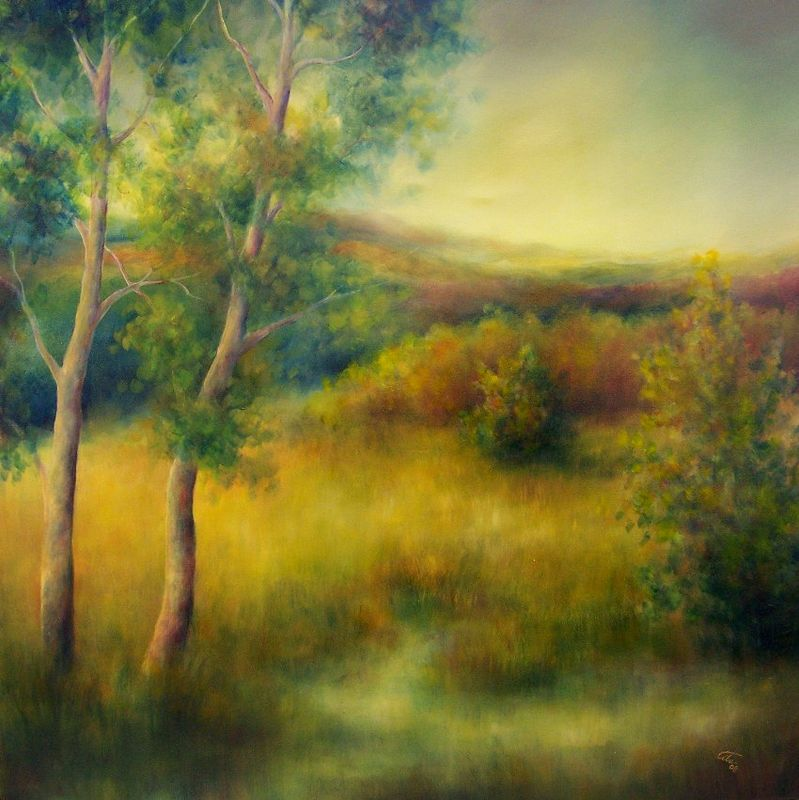 Oil painting Late Afternoon (Foothills) by Liba Labik