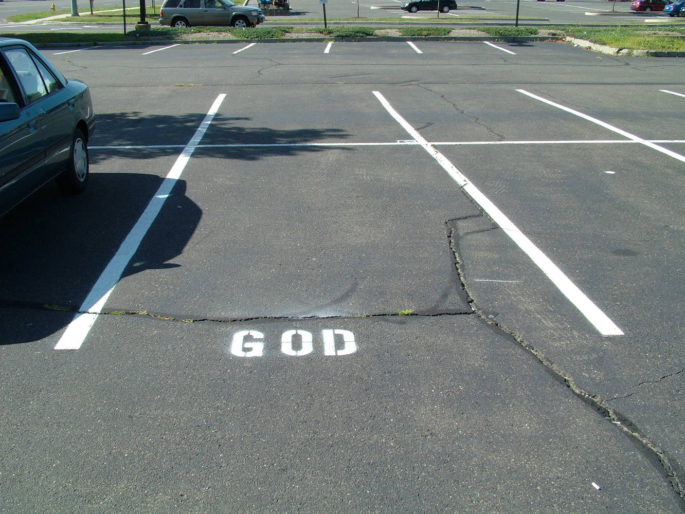 God's parking space, stencil by Ron Crowcroft
