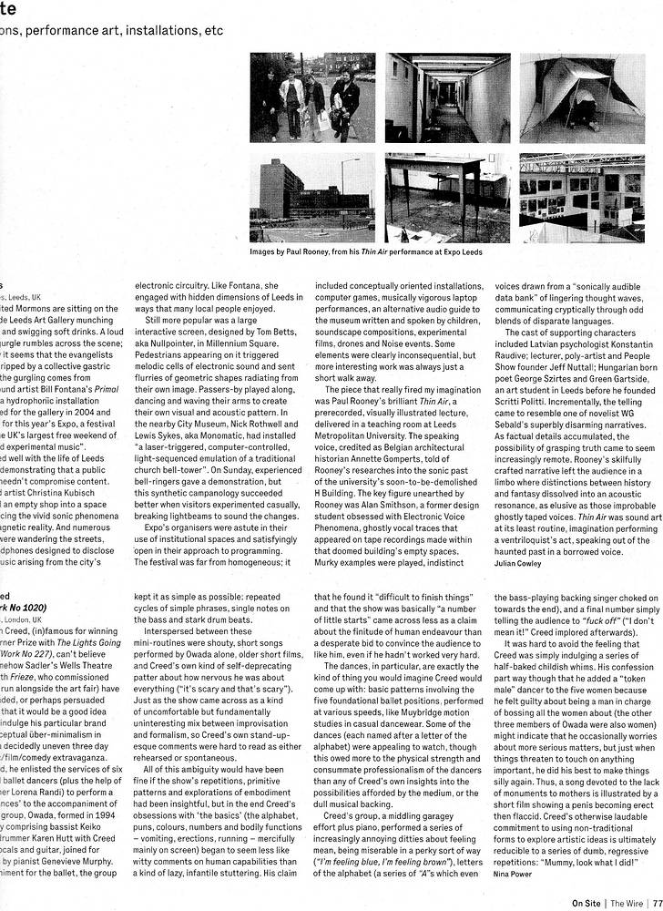 Wire magazine, my photos in article about Thin Air by Ron Crowcroft
