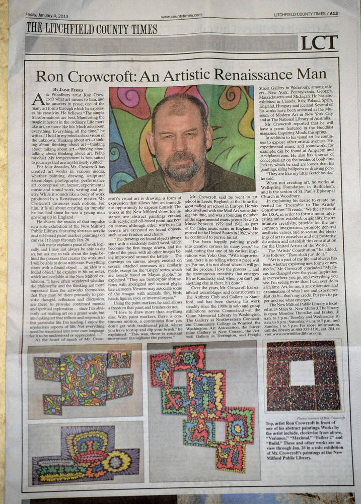 Newspaper article, An artistic renaissance man by Ron Crowcroft