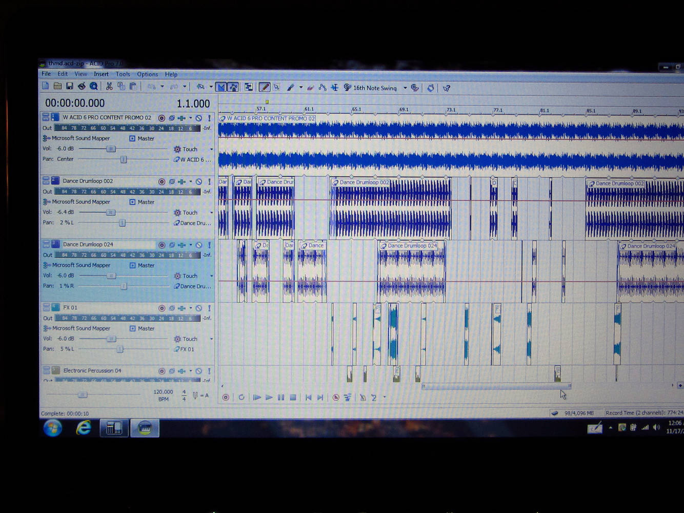 Screenshot of music editing by Ron Crowcroft