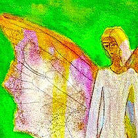 Watercolor Angelic Alien by Tracy  Dunbar