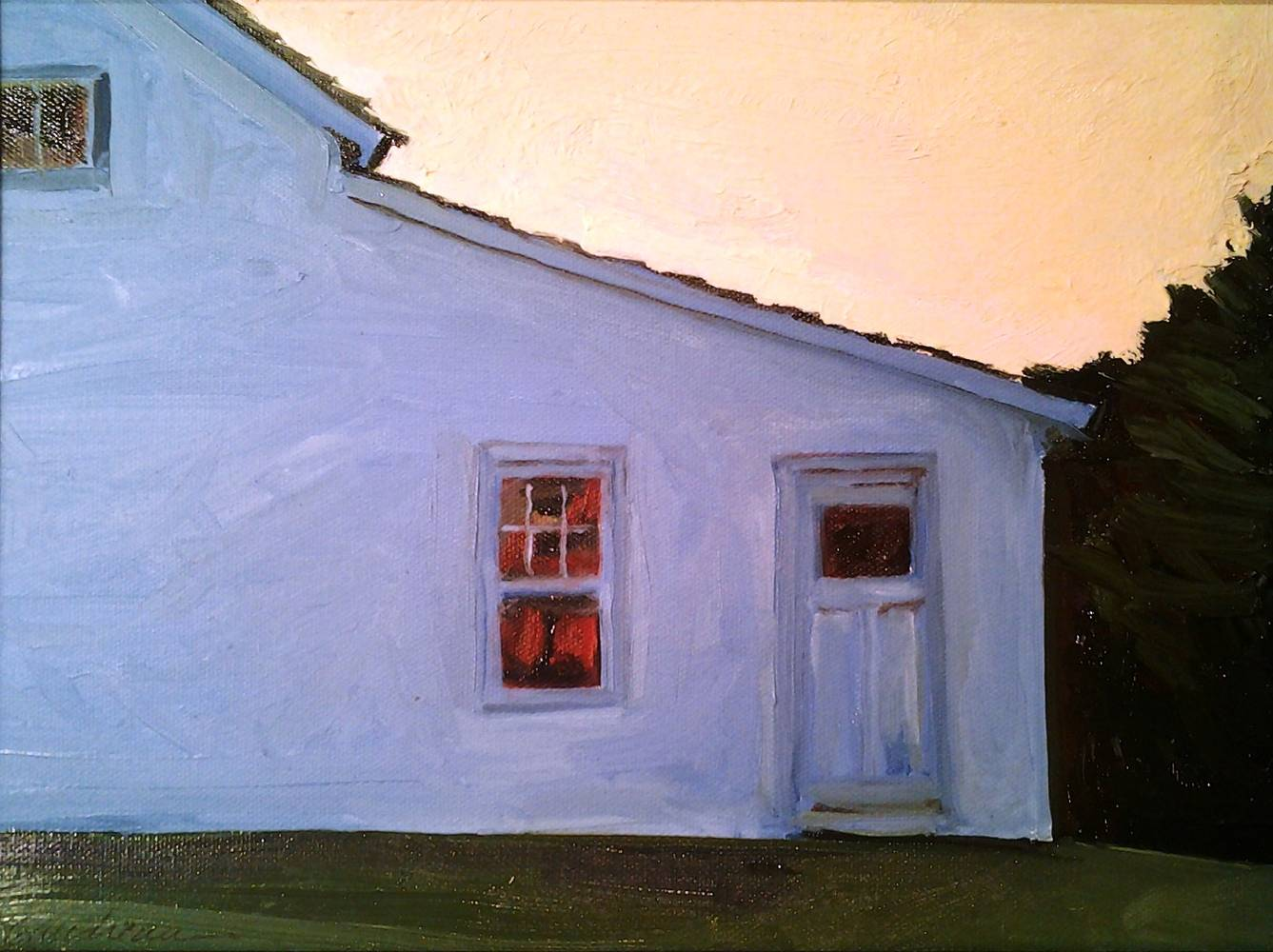 Painting White House, Blue Shadow 9x12in oil  by Michael Gaudreau