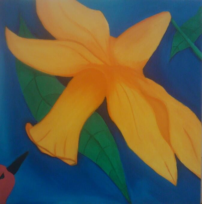 Oil painting Yellow Lily with a Humingbird by Matt Kantor