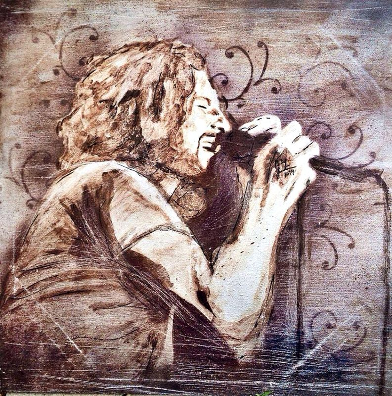 Acrylic painting Eddie Vedder by Carly Jaye Smith
