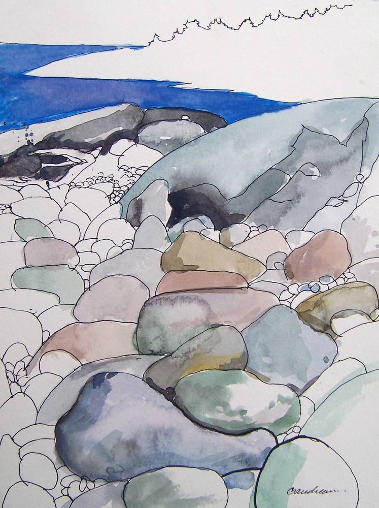 monhegan beach 8x12 watercolor,ink by Michael  Gaudreau