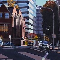 Oil painting Uiversity Club from Broadway by Shawn Demarest