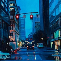 Oil painting NW Washington Blue by Shawn Demarest