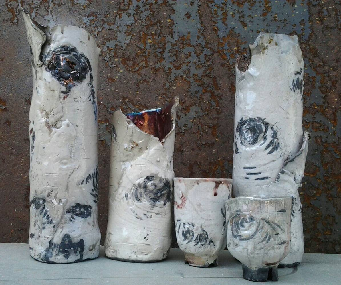 raku Ichibana vases based on birch bark  by Michael  Gaudreau