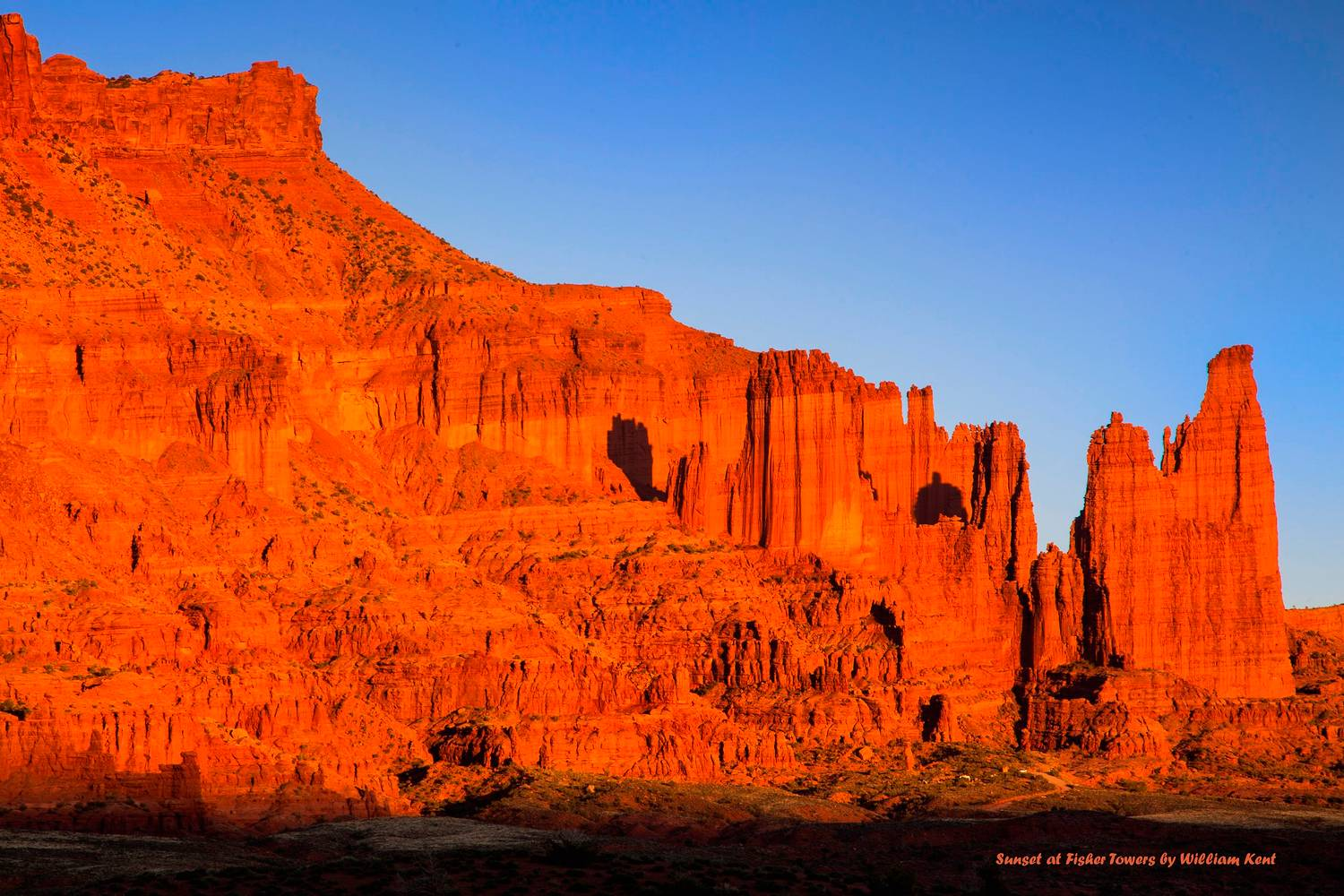 Sunset at Fisher Towers by William Kent