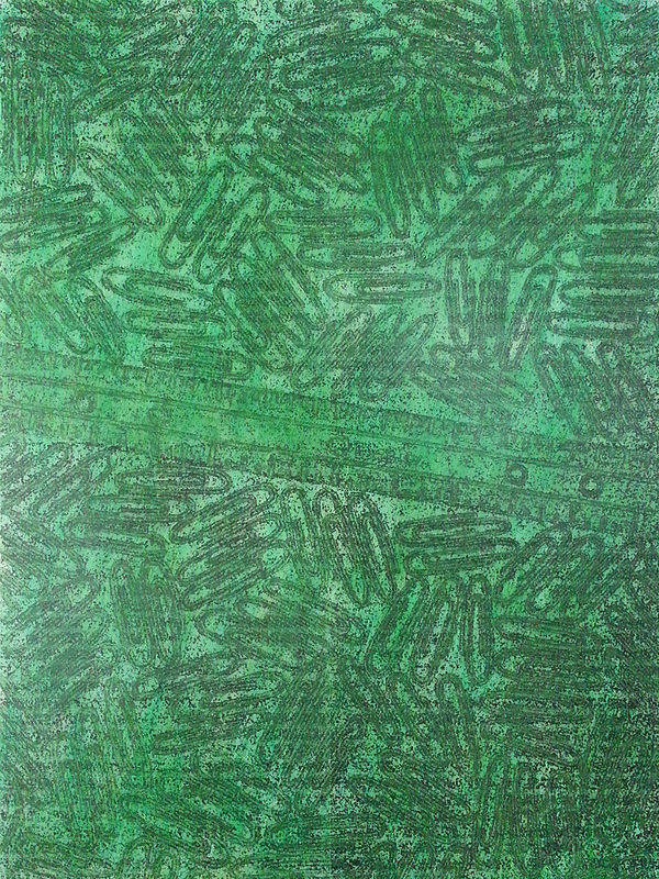 Acrylic painting CR-166 Paper Ruler in Green by John Hovig