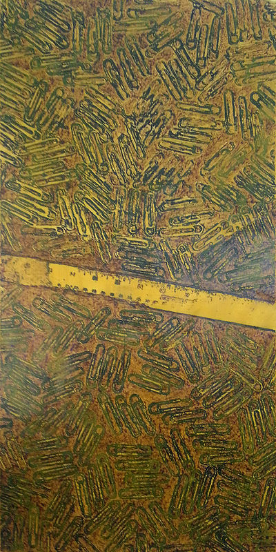 Acrylic painting CR-239 Steel Ruler in Yellow by John Hovig