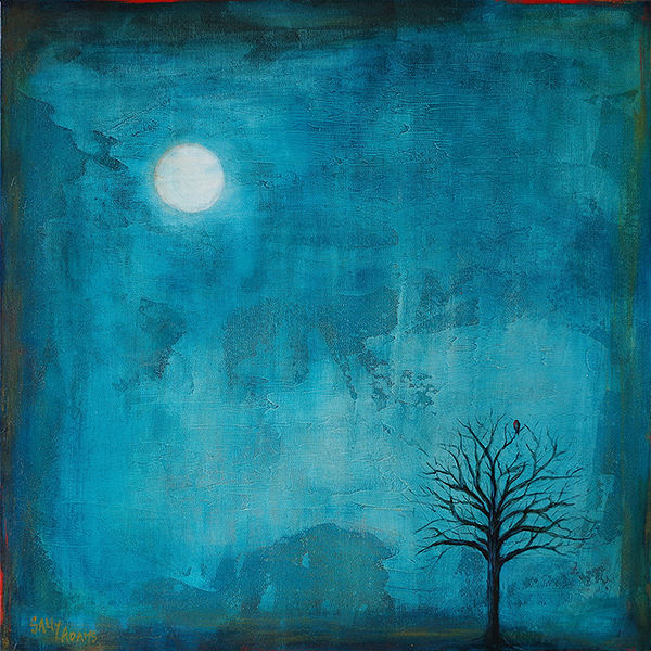 Acrylic painting Moonlit Contemplation by Sally Adams